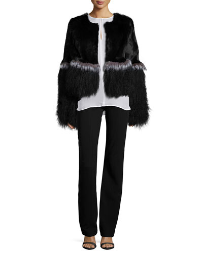 Mixed Fur Long-Sleeve Jacket, Long-Sleeve Silk Keyhole Blouse & Seamed High-Waist Pants