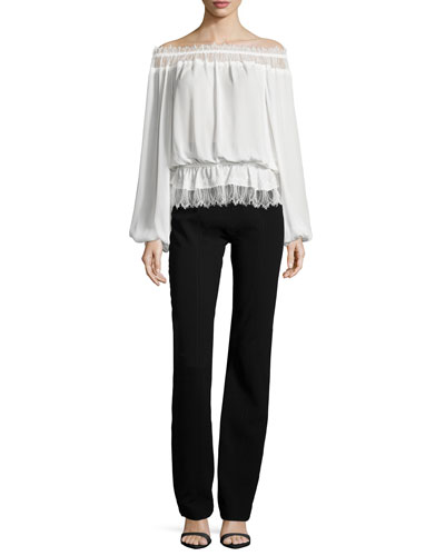 Off-Shoulder Lace Blouson Top & Seamed High-Waist Pants