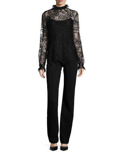 Butterfly Lace Turtleneck Blouse & Seamed High-Waist Pants