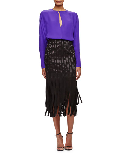Long-Sleeve Keyhole Blouse & Geometric Suede Fringe Skirt