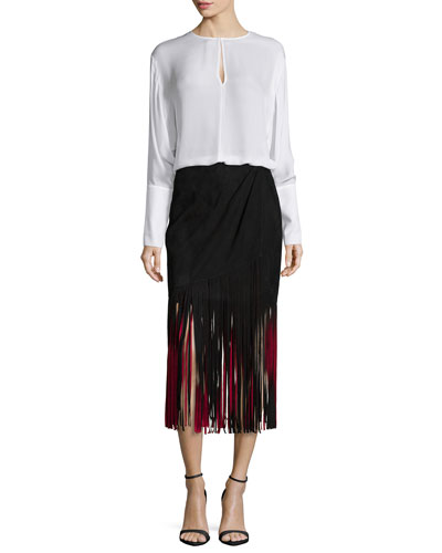 Long-Sleeve Silk Keyhole Blouse & Signature Fringe Skirt