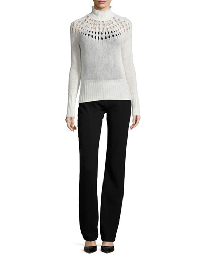 Merino Turtleneck Sweater & Seamed High-Waist Pants