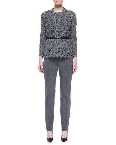 Floral Lace Open Jacket w/ Belt, Paneled Floral Lace Tank Top & Narrow-Leg Jersey Trousers
