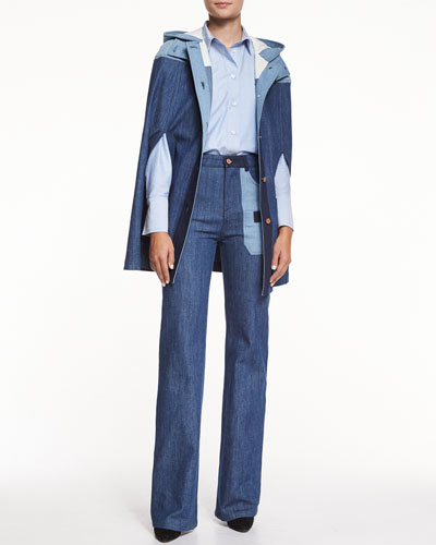 Patchwork Denim Cape, Oxford Button-Down Shirt & Flare Jeans