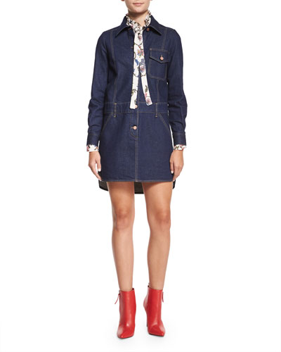 Feminine Denim Shirtdress & Floral Georgette Tie-Neck Blouse