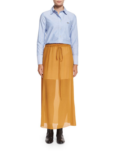 Oxford Button-Down Shirt & Pleated Georgette Drawstring Skirt