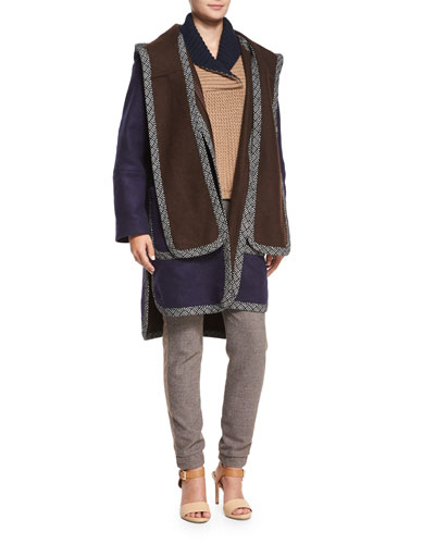Double-Face Hooded Coat, Fancy Stitch Sweater & Cool Tailoring Relaxed Pants