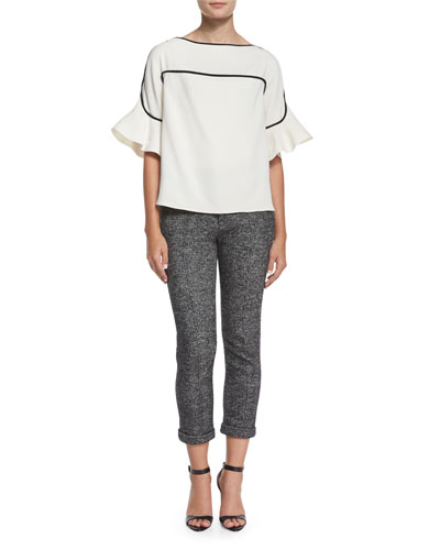 Graphic Crepe Bell-Sleeve Top & Prince of Wales Jacquard Pants