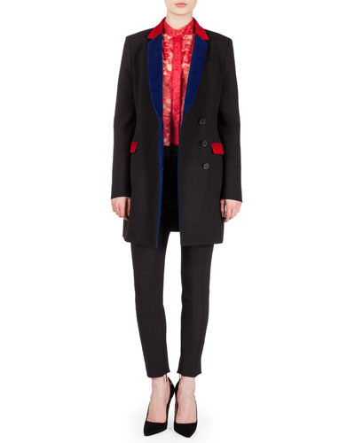 Long-Sleeve Blazer w/Velvet Trim, Mandarin Collar Long-Sleeve Lace Blouse & Straight-Leg Center-Seam Trousers