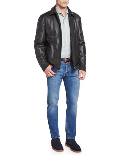 Leather Bomber Jacket with Cashmere Trim & Slim-Fit Medium-Wash Denim Jeans