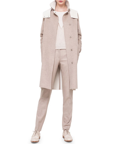 Double-Faced Cashmere Reversible Coat, Bicolor Silk-Inset Cashmere Top & Melvin Flannel Slim Pants