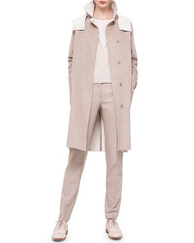 Double-Faced Cashmere Reversible Coat, Bicolor Silk-Inset Cashmere Top & Melvin Flannel Slim Pants
