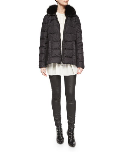 Fur-Collar Puffer Jacket, Henley Pleated Tunic Blouse & Coated Stretch Denim Jeans