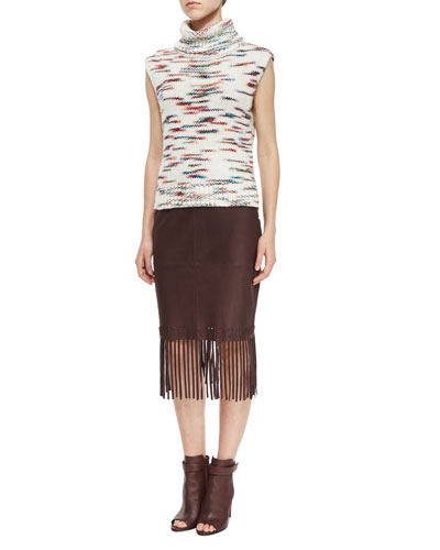 Sleeveless Turtleneck Sweater & Jaxson Leather Skirt W/Fringe