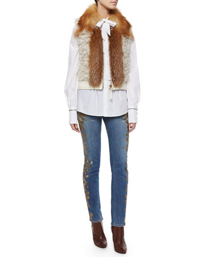 Fox Fur-Trimmed Shearling Vest, Tie-Neck Bib-Front Blouse & Metallic Applique Fitted Boyfriend Jeans