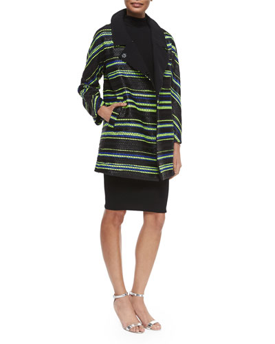 Milly Eldridge Couture Stripe Coat & Sleeveless Turtleneck