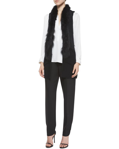 Fox-Fur-Trim Vest, Tessa Long-Sleeve Silk Blouse & Double-Face Crepe Tuxedo Pants