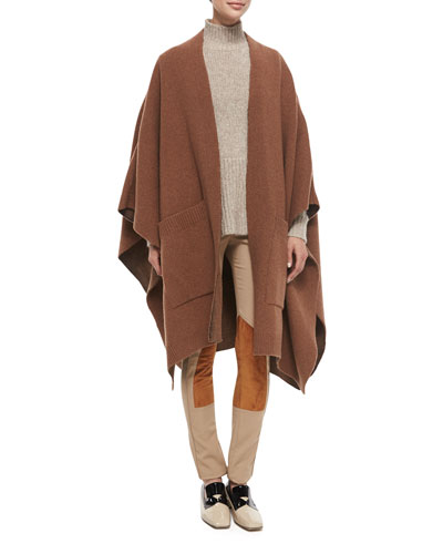 Wool Cape with Pockets, Alpaca Peplum Sweater & Stretch Twill Jodhpur Leggings