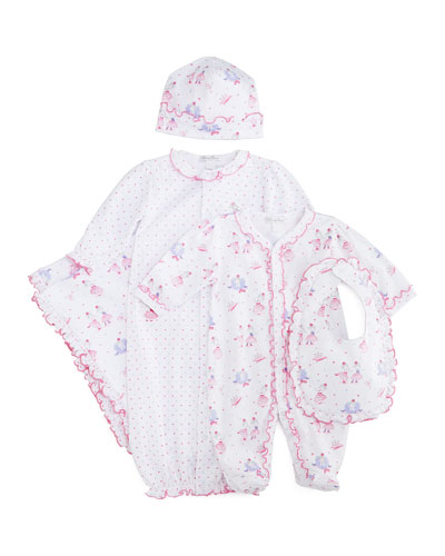 Tutu Precious Sleep Gown, Footie Pajamas, Hat, Bib & Blanket, White/Pink