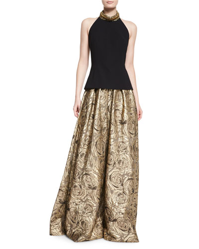 Sleeveless Beaded-Neck Sweater & Floral Metallic Jacquard Ball Skirt