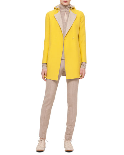 Bicolor Double-Faced Reversible Coat, Mock-Neck Zip-Front Top & Melissa Stretch Flannel Pleated Slim Pants