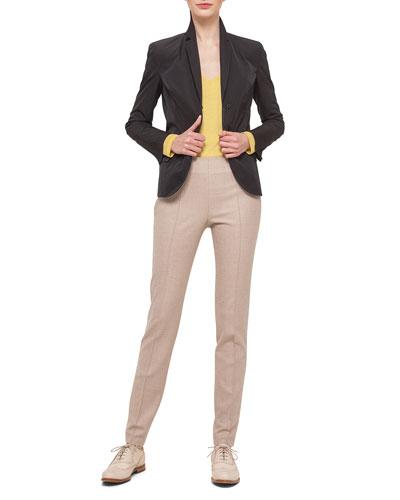 Tech-Satin Pleat-Back Jacket, Cashmere-Blend V-Neck Top & Melissa Stretch Flannel Pleated Slim Pants