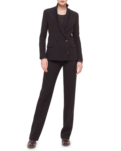 Double-Breasted Crepe Jacket, Cashmere-Blend Long-Sleeve Top & Carole Double-Faced Straight-Leg Pants