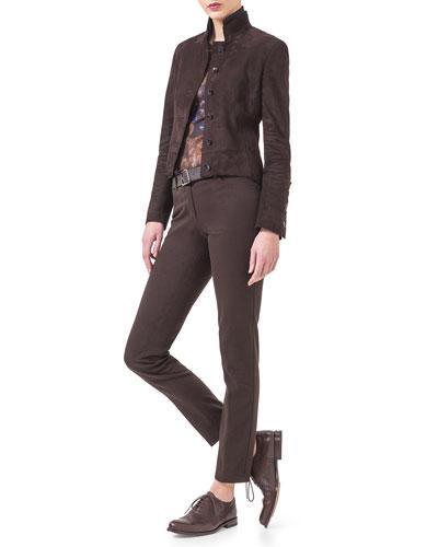 Satin-Trimmed Collar Suede Jacket, Enchanted Floral-Print Sleeveless Top & Magda Slim Denim Jeans