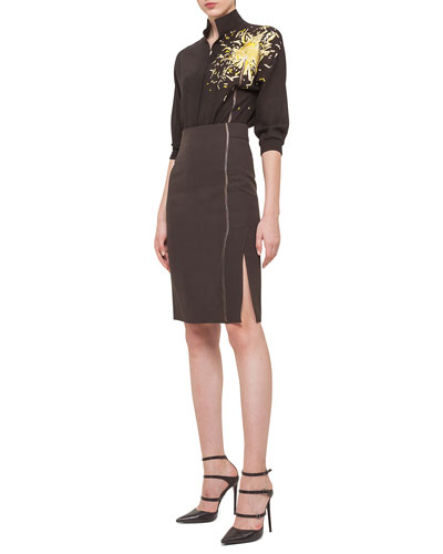 Calendula Embroidered Mousseline Blouse & Stalk-Embroidered Double-Faced Pencil Skirt