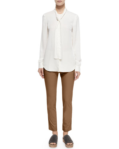 Raashida Long-Sleeve Blouse & Thaniel Cropped Slim Twill Pants