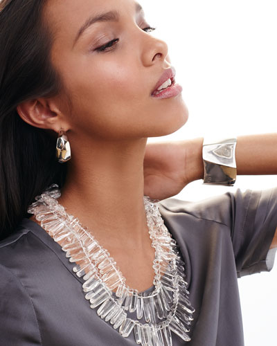 Rhodium-Plated Hoop Earrings, Silver Geometric Bangle & Double-Row Crystal Necklace