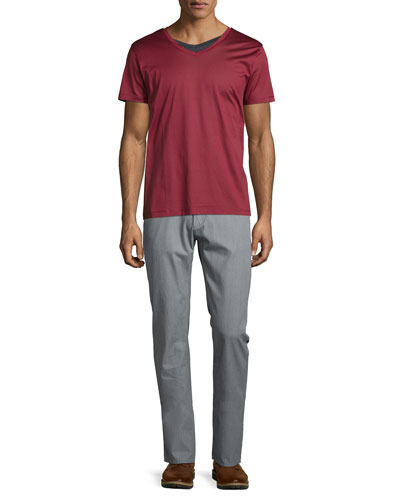 Canistro V-Neck Tee & Rice Flat-Front Twill Trousers