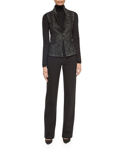 Tweed/Jersey Structured Jacket, Long-Sleeve Jersey Turtleneck Top & Pull-On Wide-Leg Trouser