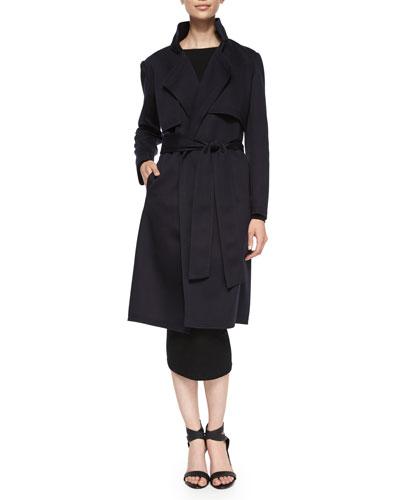 3-in-1 Trench/Vest/Jacket & Long-Sleeve Cold-Shoulder Dress