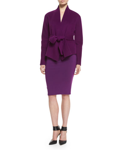 Cashmere Belted Collarless Jacket & Ruched Cold-Shoulder Sheath Dress