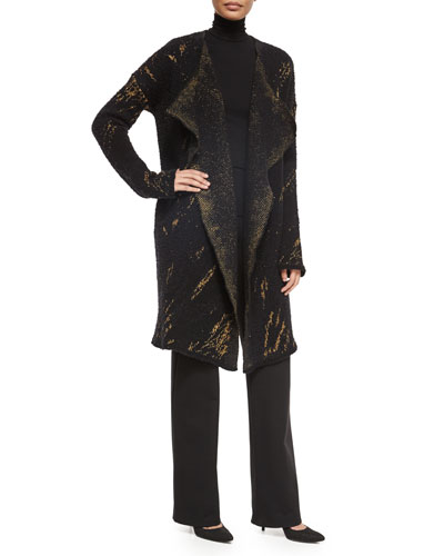 Cashmere-Blend Tapestry Jacquard Open Coat, Long-Sleeve Jersey Turtleneck Top & Pull-On Wide-Leg Trouser