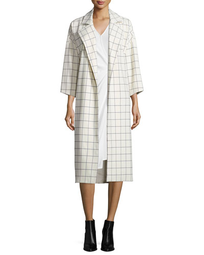 Grid-Print Trench Jacket with Tie-Waist & V-Neck Sleeveless Wrap Dress