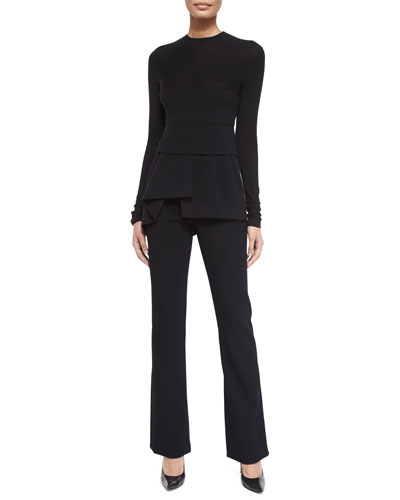 Long-Sleeve Combo Peplum Top & High-Waisted Stretch Ponte Pants