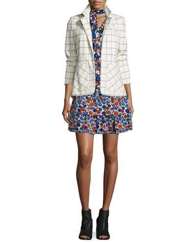 Grid-Print Blazer with Pockets & Floral-Print Sleeveless Dress