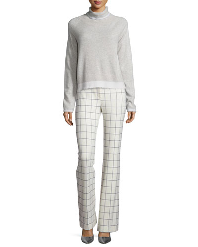 Knit Turtleneck Sweater & Grid-Print Flare Leg Pants