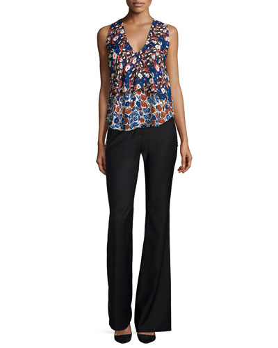 Tiered Floral-Print V-neck Top & High-Waist Flare Pants
