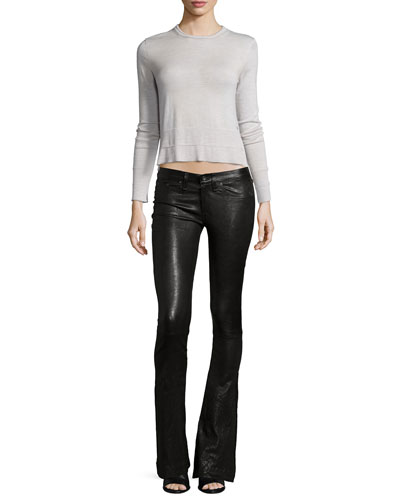 Leanna Crew-Neck Top & Low-Rise Bell-Bottom Leather Pants