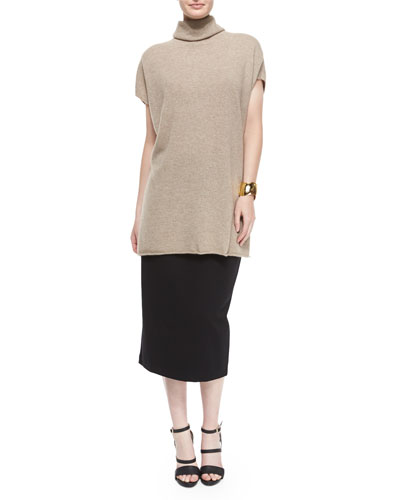 Short-Sleeve Cashmere Turtleneck Sweater & High-Waist Ponte Pencil Skirt, Petite