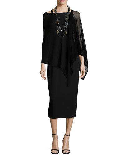 Washable Wool-Stitch Poncho & Sleeveless Jersey Long Dress, Petite
