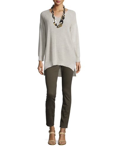 Washable Wool Ribbed V-Neck Top & Sueded Organic-Stretch Sateen Jeans