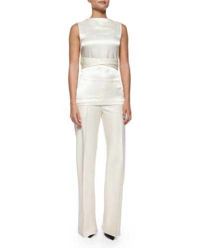 Tolly Satin Tie-Waist Top & Appel Seamed Wide-Leg Pants
