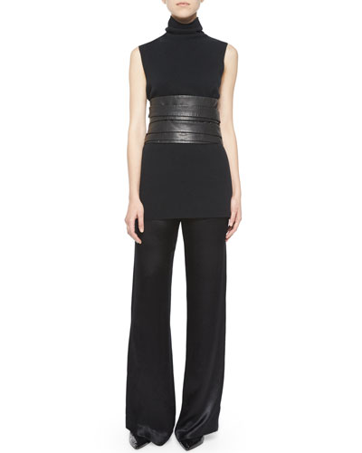 Leona Sleeveless Turtleneck, High Waist Leather Wrap Belt & Misa Satin Wide-Leg Pants