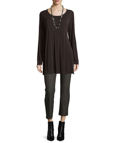 Silk Jersey Long-Sleeve Tunic & Washable Stretch-Crepe Ankle Pants, Women's