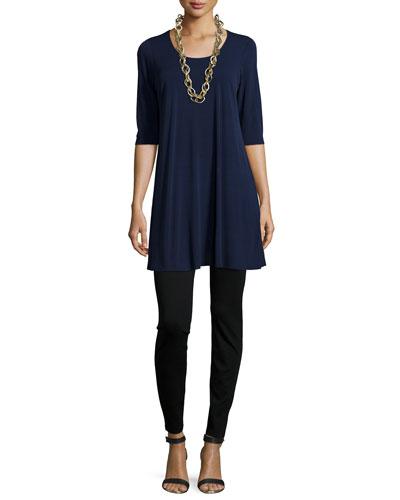 Half-Sleeve Silk Jersey Tunic & Stretch Ponte Leggings, Petite