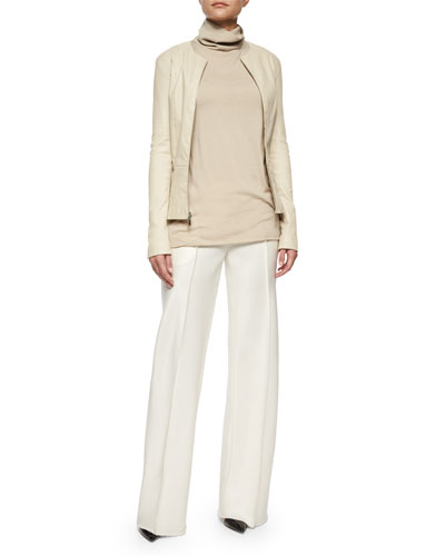 Anasta Leather Zip Jacket, Appel Seamed Wide-Leg Pants & Leona Sleeveless Turtleneck Top